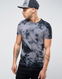 Серая футболка с принтом тай-дай ASOS - Серый