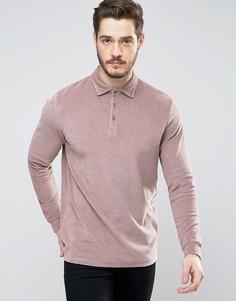 Удлиненная футболка-поло из махровой ткани с длинными рукавами ASOS - Коричневый