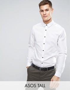 Рубашка классического кроя с контрастными пуговицами ASOS TALL - Белый
