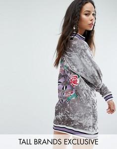 Свободное бархатное платье-джемпер с отделкой в рубчик и вышивкой Jaded London Tall - Мульти