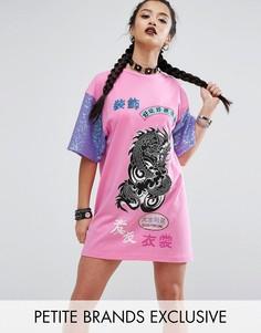 Платье-футболка в стиле oversize с расшитыми пайетками рукавами Jaded London Petite - Розовый