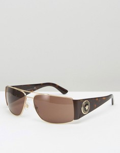 Квадратные солнцезащитные очки-авиаторы в черепаховой оправе Versace - Коричневый