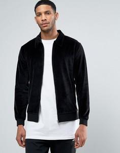Черная бархатная куртка Харрингтон ASOS - Черный