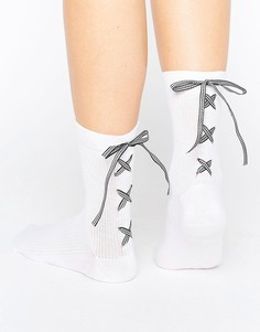 Носки с завязкой в клеточку ASOS - Белый