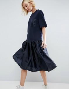 Платье-футболка с заниженной талией и контрастной атласной вставкой ASOS WHITE - Темно-синий