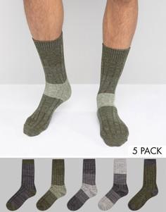 Комплект из 5 пар фактурных носков цвета хаки ASOS - Зеленый