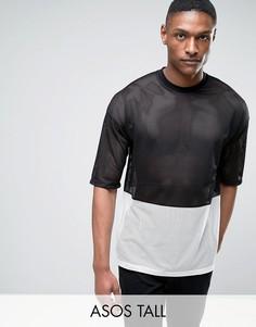Монохромная сетчатая oversize-футболка с рукавами до локтя ASOS TALL - Черный