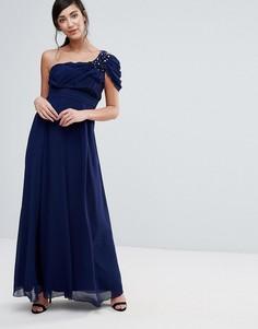 Платье макси на одно плечо с драпировкой Little Mistress - Темно-синий
