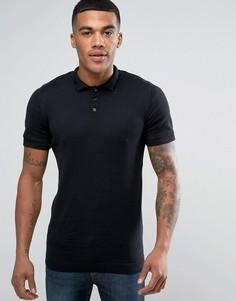 Черная обтягивающая трикотажная футболка-поло ASOS - Черный