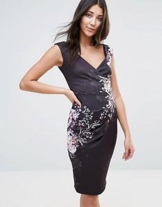 Платье-футляр с V-образным вырезом и цветочным принтом Jessica Wright - Мульти