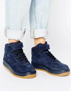 Темно-синие высокие замшевые кроссовки-премиум Nike Air Force 1 Upstep - Темно-синий