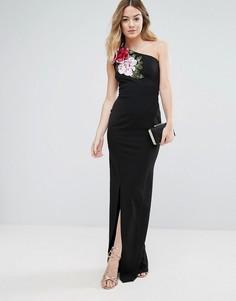 Платье макси на одно плечо с разрезом и цветочной аппликацией Jessica Wright - Черный