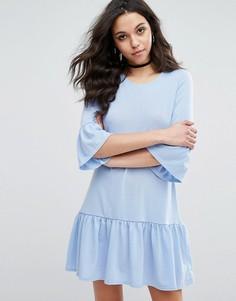 Свободное платье с оборками Boohoo - Синий