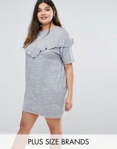 Платье-футболка с оборками Boohoo Plus - Серый