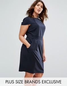 Платье-футляр миди с короткими рукавами и поясом сзади Closet Plus - Темно-синий