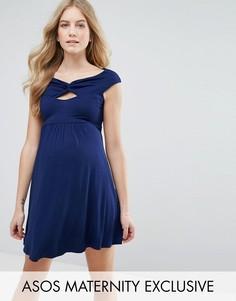Короткое приталенное платье с широкой горловиной и перекрутом ASOS Maternity - Темно-синий