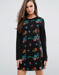 Трикотажное платье с цветочной вышивкой Missguided - Мульти