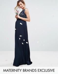 Платье макси с плиссированной юбкой и декорированным лифом Maya Maternity - Темно-синий