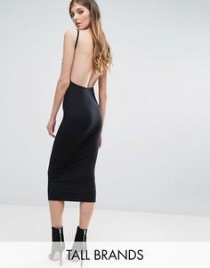Облегающее платье миди в рубчик с открытой спиной Missguided Tall - Черный
