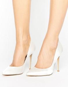Белые атласные туфли-лодочки с острым носом Faith Chloe - Белый