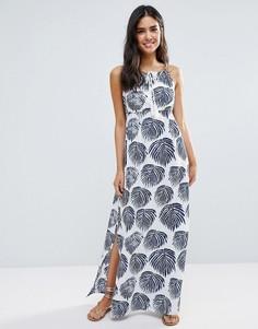 Пляжное платье макси с принтом листьев Liquorish - Белый
