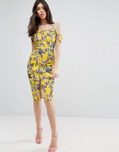 Желтое фактурное платье миди с цветочным принтом ASOS - Желтый