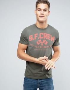 Выбеленная хлопковая футболка с графическим принтом Esprit - Серый