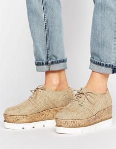 Туфли на платформе и шнуровке ASOS OLYMPIC - Кремовый