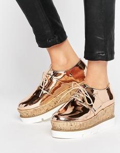 Туфли на платформе и шнуровке ASOS OLYMPIC - Бежевый
