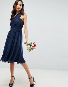 Присборенное платье миди на одно плечо из шифона ASOS - Темно-синий