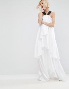 Платье макси на бретелях с многослойными оборками ASOS WHITE - Белый