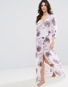 Пляжное платье макси с запахом и цветочным принтом ASOS - Мульти