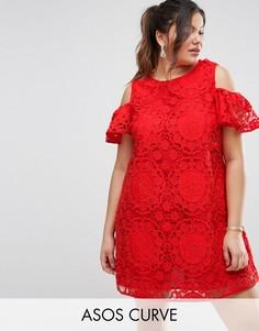 Кружевное платье с вырезами на плечах ASOS CURVE - Красный