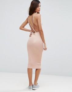 Платье миди в рубчик с перекрестной спинкой ASOS - Розовый