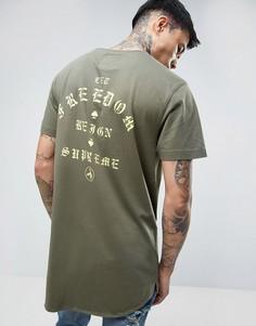 Удлиненная футболка с принтом на спине Cayler & Sons - Зеленый