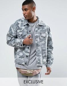 Состаренная джинсовая куртка с камуфляжным принтом Cayler & Sons - Серый