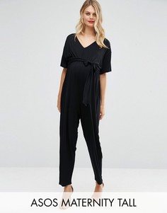 Комбинезон с поясом и рукавами-кимоно ASOS Maternity TALL - Черный