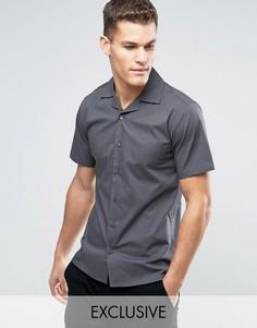 Приталенная рубашка с короткими рукавами и воротником в виде лацканов Only & Sons - Серый