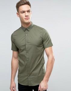 Строгая рубашка скинни с короткими рукавами Only & Sons - Зеленый