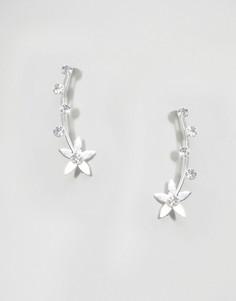 Серебряные серьги-клаймберы с цветами и камнями ASOS WEDDING - Серебряный
