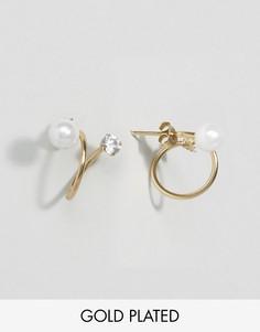 Незамкнутые серьги-кольца из позолоченного серебра с камнями ASOS - Золотой