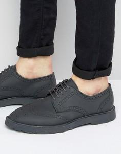Черные кожаные броги на черной подошве ASOS - Черный