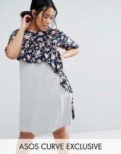 Платье-футболка с оборкой и контрастным цветочным принтом ASOS CURVE - Мульти