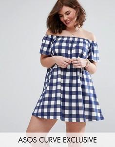 Платье мини в клеточку с открытыми плечами ASOS CURVE - Мульти