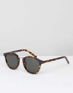 Солнцезащитные очки в круглой черепаховой оправе Monokel Nalta - Коричневый