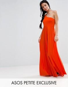 Платье макси на одно плечо со складками ASOS PETITE - Мульти