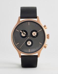 Золотисто-розовые часы с кожаным ремешком и хронографом Cronometrics - Черный