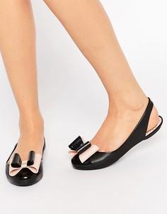 Туфли на плоской подошве с открытой пяткой и бантом Zaxy Gift - Черный