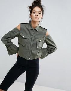 Укороченная куртка с вырезами на плечах ASOS - Зеленый