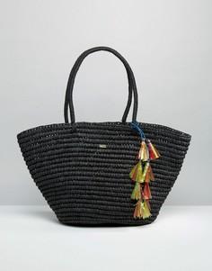 Соломенная сумка-шоппер Nali - Черный